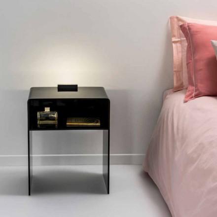 Schwarzer Nachttisch mit LED-beleuchtbarem Touch-Licht Adelia, made in Italy