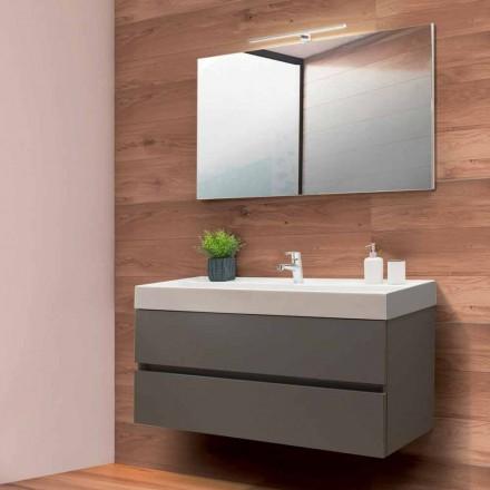 Badezimmerschrank 120 cm, Spiegel und Waschbecken - Becky