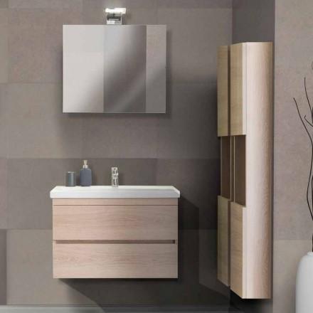 Badezimmerschrank 80 cm, Waschbecken, Spiegel und 2 Säulen - Becky