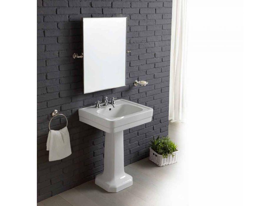 Badezimmerkomposition mit Waschbecken auf Säule aus weißer Keramik Ania