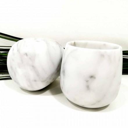 Zusammensetzung von 2 Gläsern aus weißem Carrara-Marmor Made in Italy - Dolla