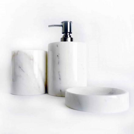 Zusammensetzung von 3 Badezimmerzubehör aus poliertem Marmor Made in Italy - Trevio
