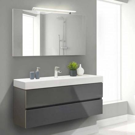 Badezimmerschrank 140 cm, Waschbecken und Spiegel - Becky