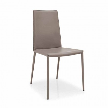 Connubia Calligaris Boheme moderner Leder und Metall Stuhl, 2 Stück