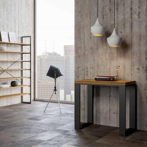 Ausziehbare moderne Bücherregalkonsole aus Melaminholz, Badesi