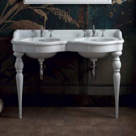 Klassische Badezimmerkonsole mit Doppelwaschbecken made in Italy, Magda