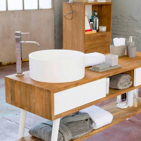 Badezimmertisch im modernen Design aus natürlichem Pistoia-Teakholz