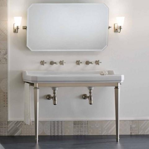 Badezimmerkonsole L 135 cm mit Doppelschale aus Keramik Made in Italy - Nausica