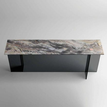 Designkonsole mit Marmorplatte und Glassockel Made in Italy - Molino