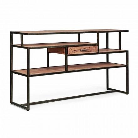 Konsole aus Akazienholz und Stahl mit Schubladen-Design Homemotion - Cristoforo