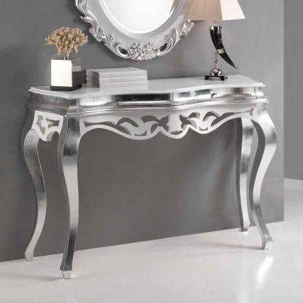 Konsole im klassischen Stil Holz, Silber-Finish und weiß Kreta