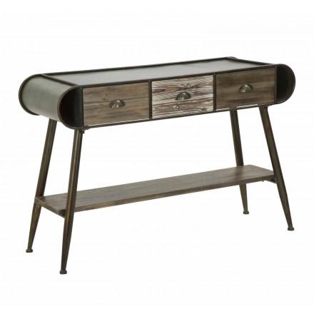 Rechteckige Konsole aus modernem Design aus Eisen und Holz - Marek