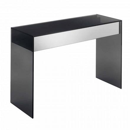 Design Consolle Schreibtisch aus Rauchglas mit Schubladen Made in Italy - Mantra