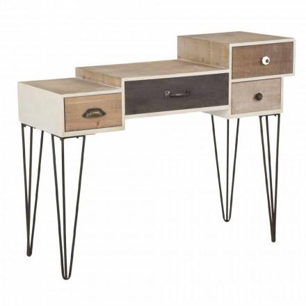 Konsole mit Schubladen Moderner Industriestil in Holz und Metall - Lille