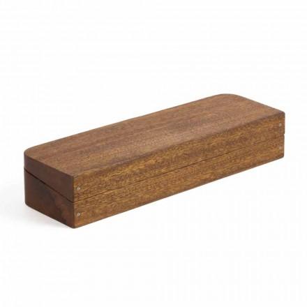 Schreibtischbehälter aus Mahagoniholz mit 3 Fächern Made in Italy - Nitro