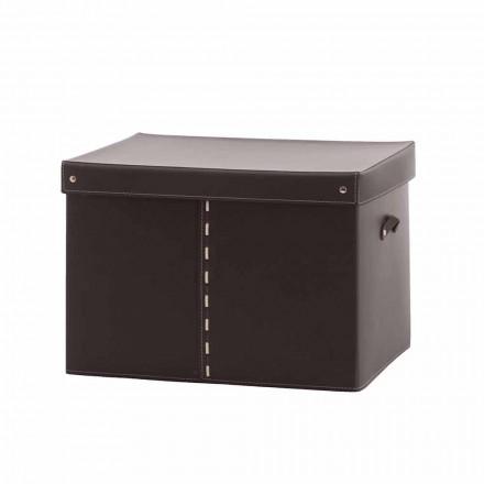 Moderne Aufbewahrungsbox aus regeneriertem Leder Made in Italy - Gabry