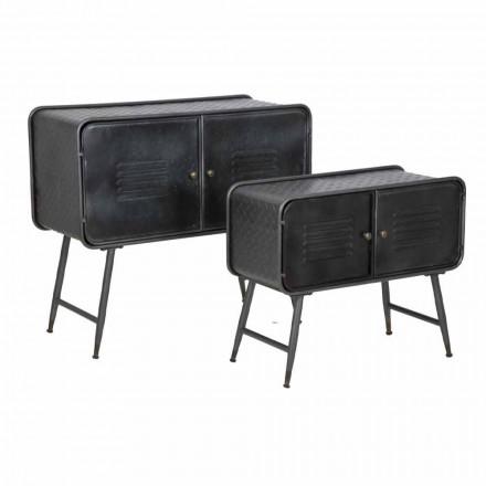 Paar industrielle Sideboards für Wohnzimmer Vintage Design in Eisen - Cuna
