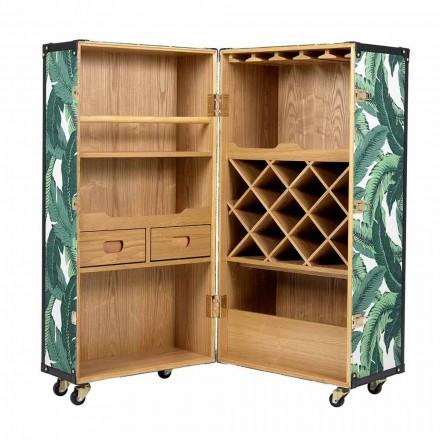 Design Sideboard mit Rädern aus Mdf, Furnierholz und Stoff - Amazonien