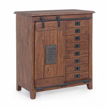 Sideboard in Holz und Mdf mit Stahleinsätzen und Dekorationen Homemotion - Pablo