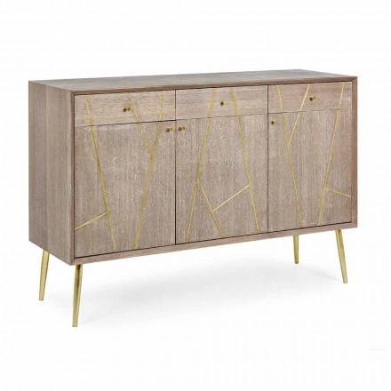 Sideboard aus Teakholz mit Goldstahleinsätzen im Vintage-Stil - Mayra