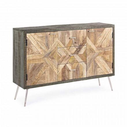 Vintage Style Sideboard mit Holzstruktur und Stahldetails - Adiva