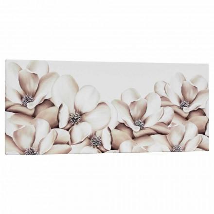 Druck auf Design Blumen Leinwand handdekoriert in Italien Moscal