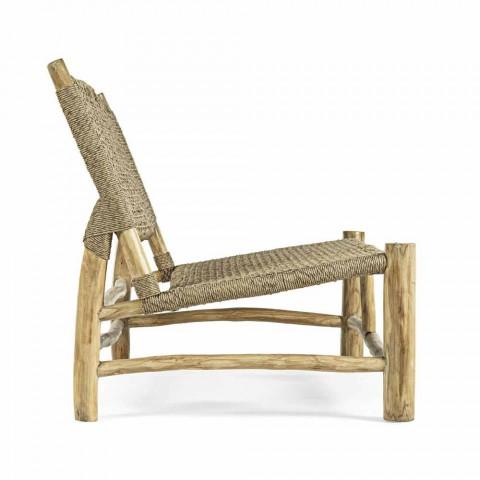 2-Sitzer-Sofa im Freien aus Teakholz und Kunstfaser - Tecno