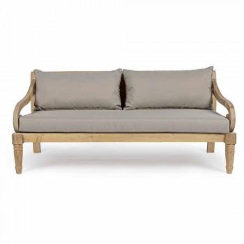 2-Sitzer Gartensofa aus Teakholz mit abnehmbaren Kissen, Homemotion - Harry