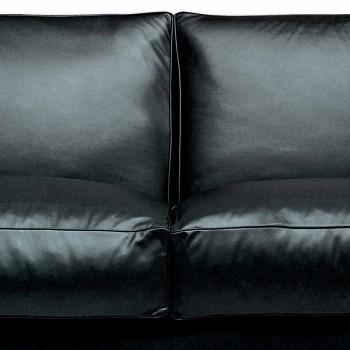 2-Sitzer Ledersofa mit Füßen aus Nussbaumholz Made in Italy - Alessandria