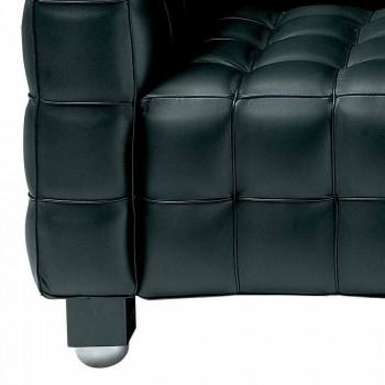 2-Sitzer-Sofa mit Bezug aus Leder in Steppoptik Made in Italy - Vesuvio