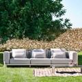 3-Sitzer-Outdoor-Sofa aus Aluminium und hochwertigem Stoff - Filomena