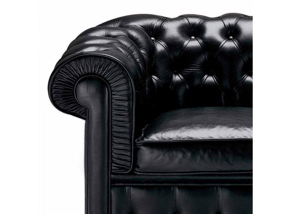 3-Sitzer-Sofa mit Lederbezug und lackierten Füßen Made in Italy - Idra