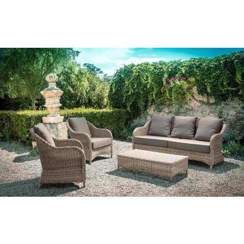 3-Sitzer-Gartensofa in geflochtenem Faserdesign Homemotion - Casimiro
