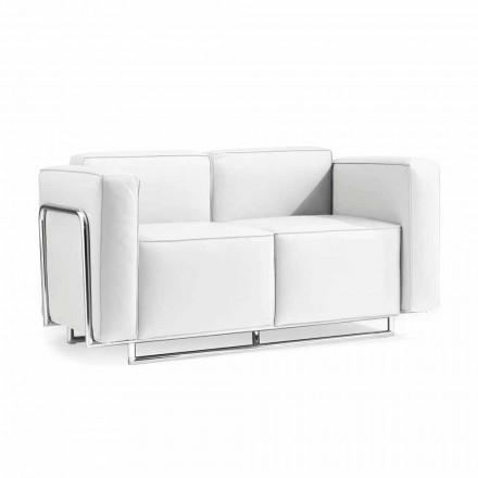 Sofa 2 Sitzer aus Kunstleder weiß in modernem Design Bugola