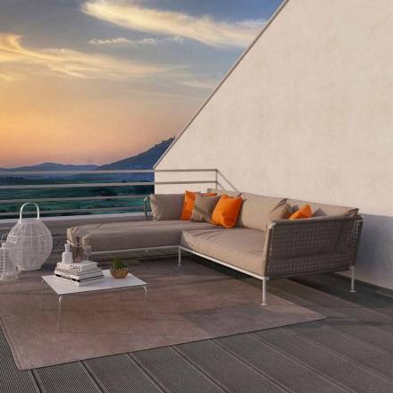 Modernes Design Outdoor-Ecksofa aus taubengrauem oder weißem Stoff - Ontario3