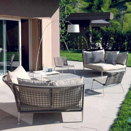 Runder Garten Sofa Stoff Taubengrau Made in Italy Design - Ontario4