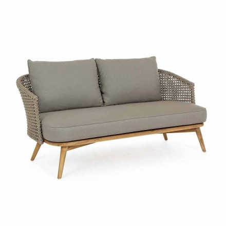 Outdoor-Sofa 2 oder 3 Sitzplätze aus Holz und taubengrauem Homemotion-Stoff - Luana