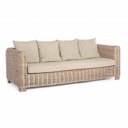 Homemotion - Ceara 3-Sitzer Design Outdoor Sofa in Holz und Rattan
