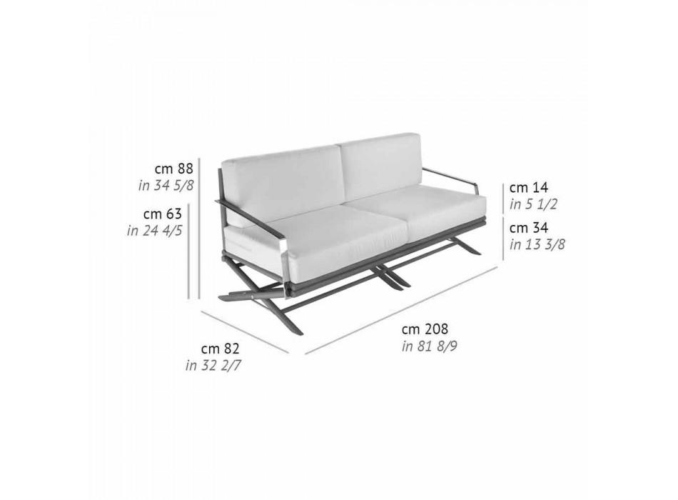 3-Sitzer-Sofa im Freien aus Naturholz oder schwarzem und luxuriösem Stoff - Suzana