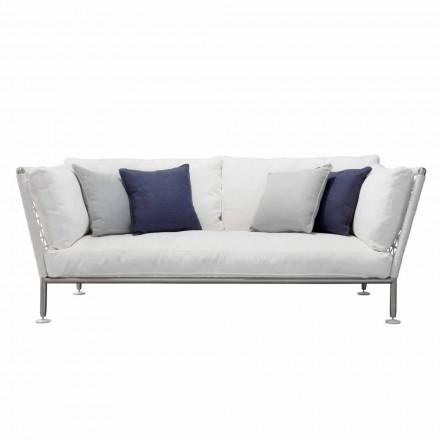 Outdoor-Sofa aus Stahl und geflochtenen weißen PVC-Kissen - Ontario6