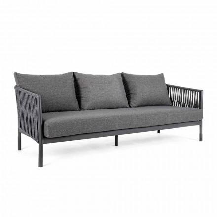 Outdoor Sofa Aluminium und Seil mit Stoffkissen, Homemotion - Shama