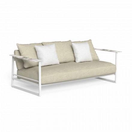 Outdoor-Sofa aus Aluminium, Stoff und Armlehnen in Gres - Riviera von Talenti