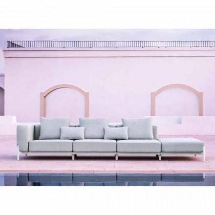 3-Sitzer-Gartensofa mit Luxus-Hocker aus Aluminium und Stoff - Filomena