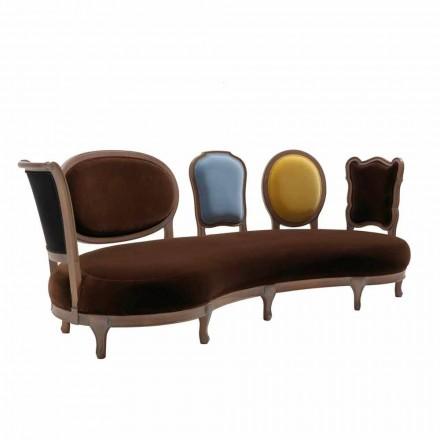 Sofa luxury Design,5 Rückenlehnen aus Massivholz, made in Italy, Manno