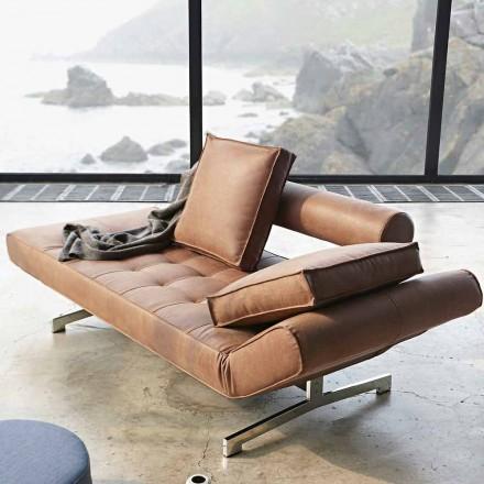 Design polster Schlafsofa Ghia by Innovation mit verchromten Beinen