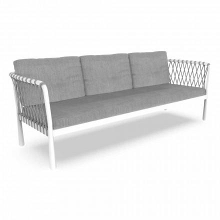 Dreisitzer Modernes Gartensofa aus Aluminium und Stoff - Sofy von Talenti