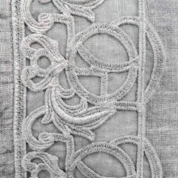 Bettkissen Kissenbezug aus grauem Leinen mit italienischer Luxus-Synergie-Spitze - Stego