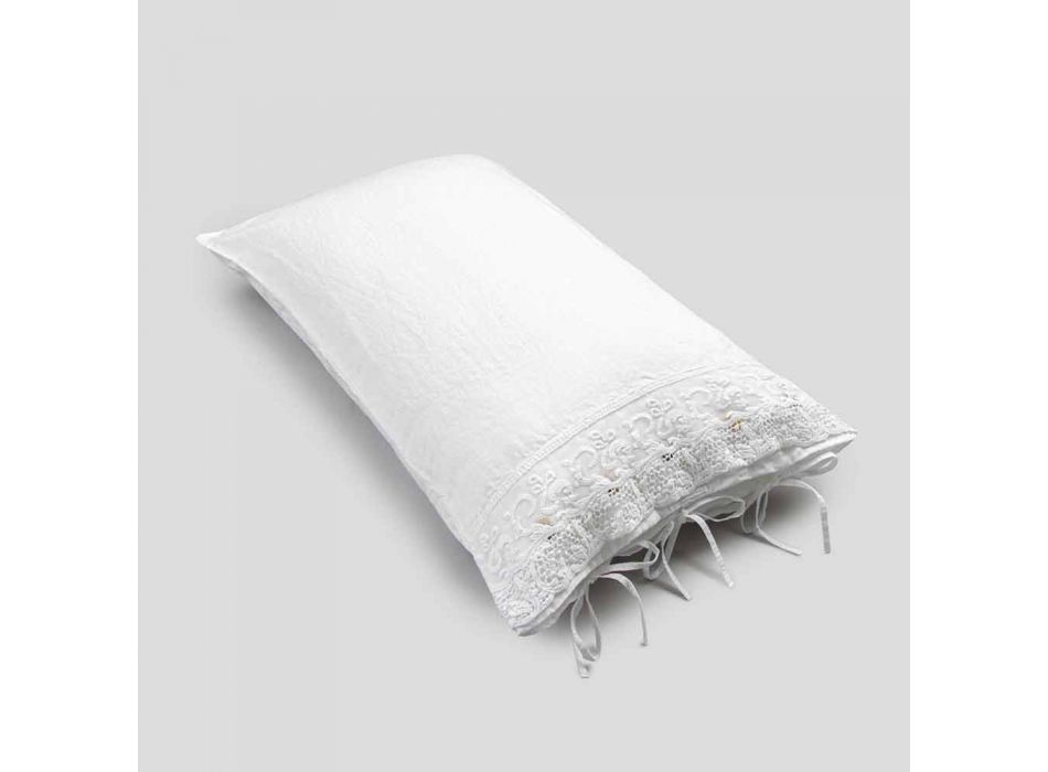 Leinen Kissenbezug mit weißer Spitze für Luxus Design Bett Made in Italy - Kiss