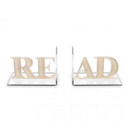 Buchstützen in Beige oder Weißem Plexiglas Read Design - Feread