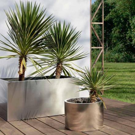 Gartenpflanzgefäß mit rundem / rechteckigem Design aus Stahl Made in Italy - Philly
